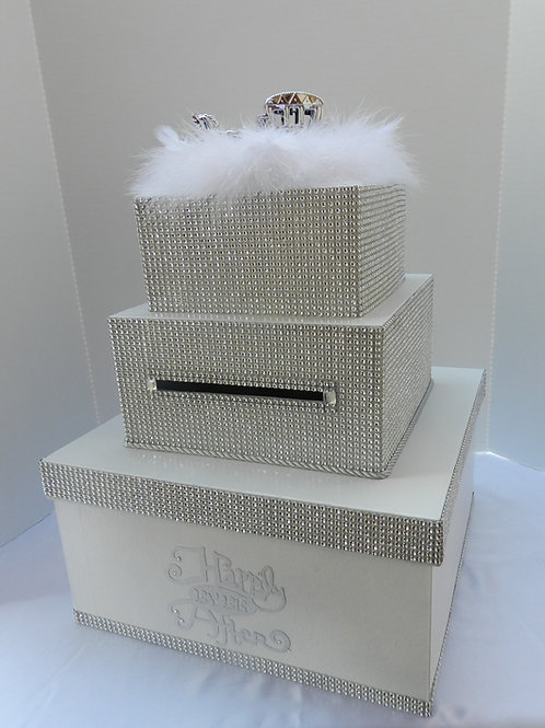 Wedding Card Box,Silver Diamond Box,Fairy tale Wedding,Cinderella,Reception Box,