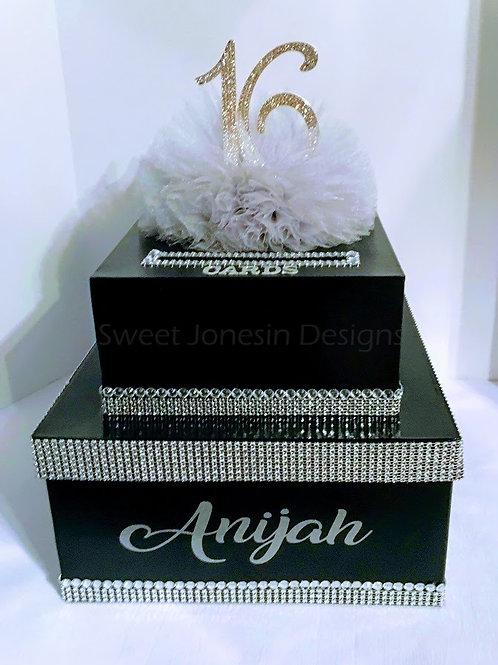 Black & Silver Card Box,Sweet 16 Card Box,Black Card Box Silver Bling Box, Birth