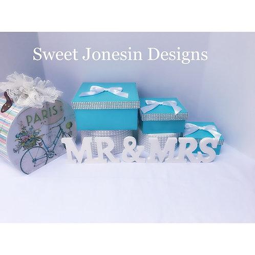 3 Wedding Boxes Blue Gift Box Favor Box Accessory Boxes Aqua Blue Robin Egg Blue