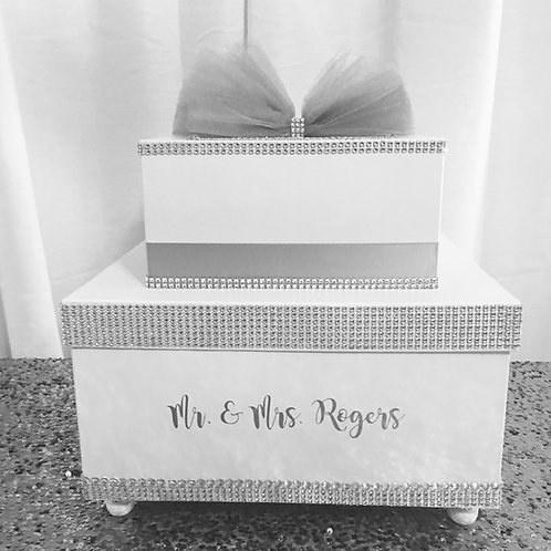 White & Silver Wedding Card Box, Silver Bling Box, Sweet 16, Quinceanera,Money H