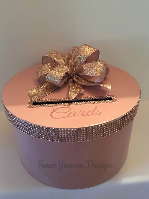 Blush Card Box, Rose Gold Card Box, Wedding Card Box