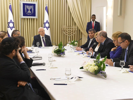 以色列總統魯文里夫林與當選為第21屆以色列議會的政黨進行磋商