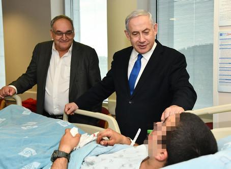 以色列總理內塔尼亞胡總理探望在耶路撒冷發生的汽車襲擊事件中受傷的士兵