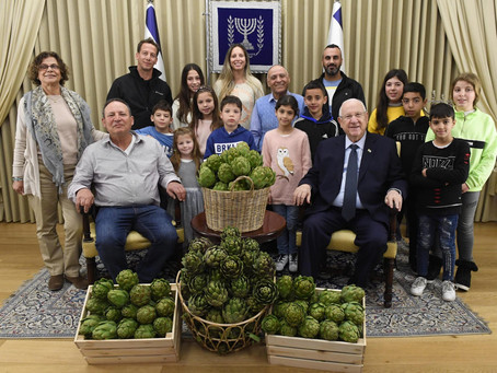 three generations of Israeli artichoke growers brought baskets of their produce to Beit HaNasi