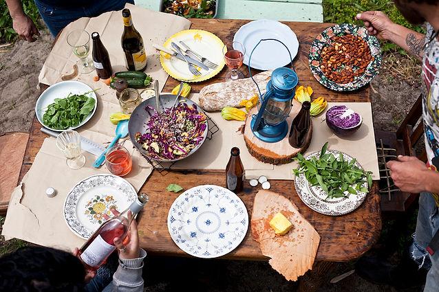 Organic Farm Lunch Table
