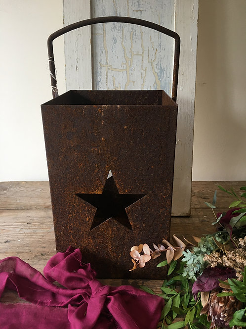 Rusty metal lantern