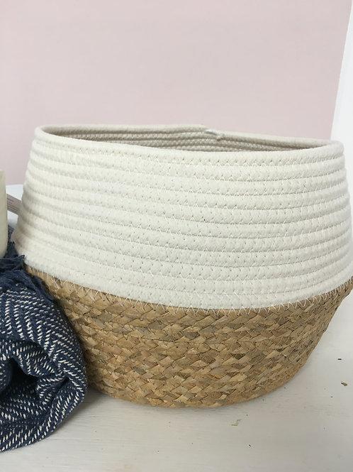 Laid back boho  rope and grass basket