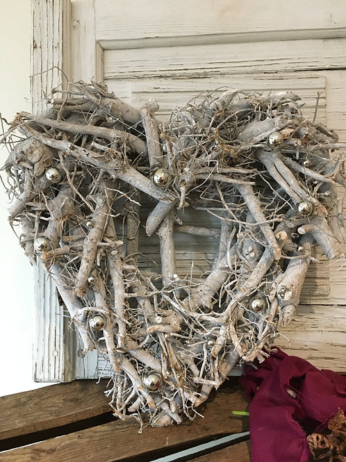 Rustic twig heart with a little Christmas twist