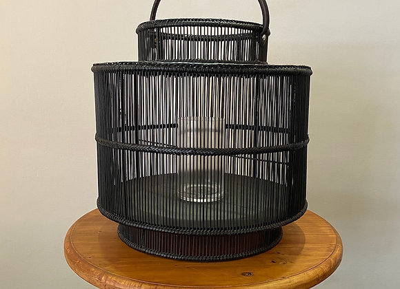 Rain Lantern L (Black) with Glass D50xH50cm