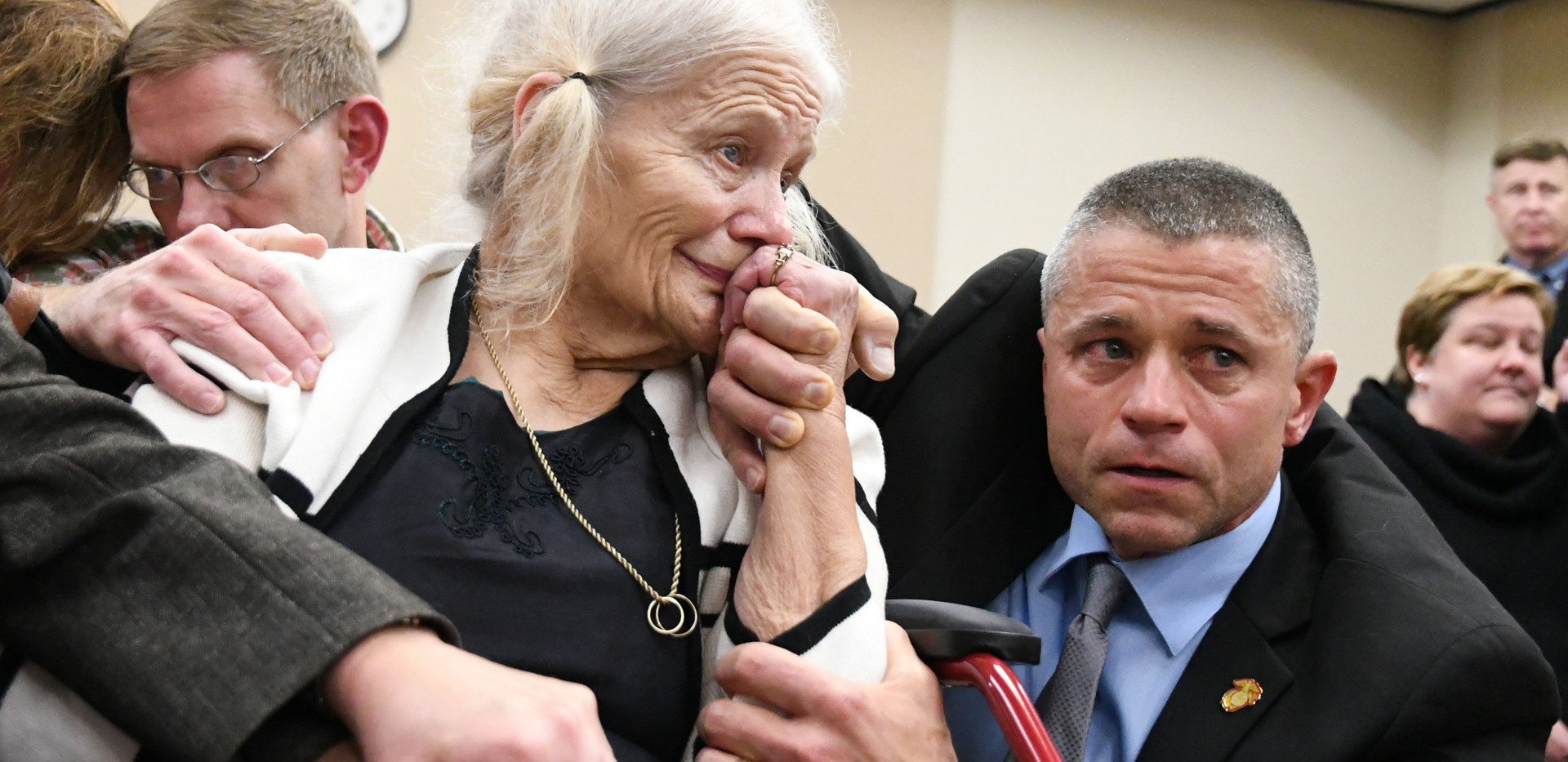 Cheryl Williams, left, mother of Mike Williams, the man who was shot and killed by his best friend 18 years ago, along side family friend Josie Visnovski, cry tears of joy for a the guilty verdicts in the trial against Denise Williams, Mike's former wife, Friday, Dec. 14, 2018.