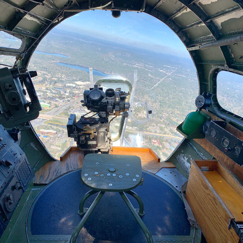 he nose of a World War II B-17 where a bombardier would sit as they released bombs over their targets.