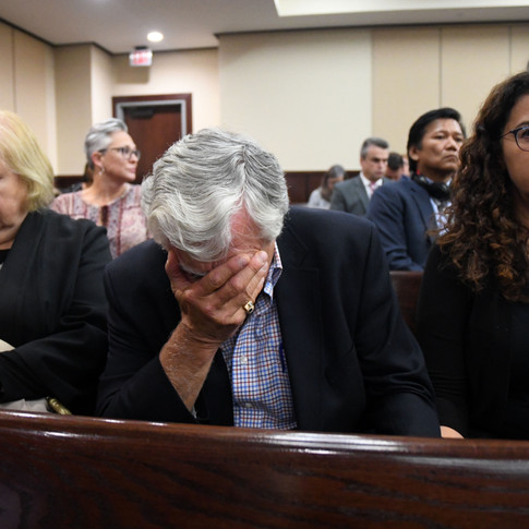 Dan Markel's father, Phil Markel, is overcome with emotion Friday afternoon as the guilty verdict is read for Sigfredo Garcia. He and his wife, Ruth Markel, and their daughter, Shelly Markel, remained silent as jurors announced their decision.