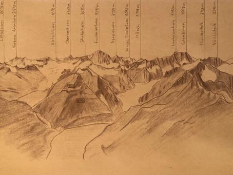 Grimselgebiet Topographie / Bleistift auf Papier / 14.8 x 21 cm / Mai 2020
