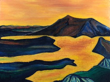 Blick vom Pilatus auf den Vierwaldstättersee und die Rigi / Öl auf Jute / 50 x 60 cm / April 2020