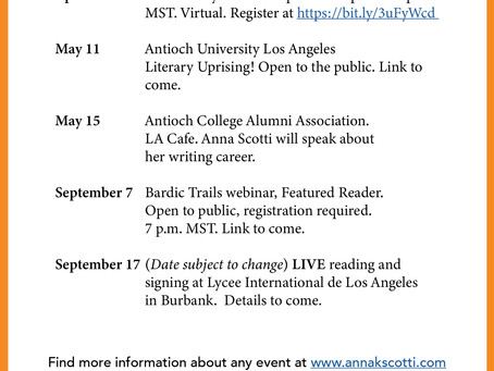 Some upcoming events celebrating Anna Scotti!