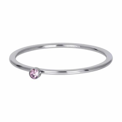 Vulring Pink 1 Stone Zilverkleurig 1mm