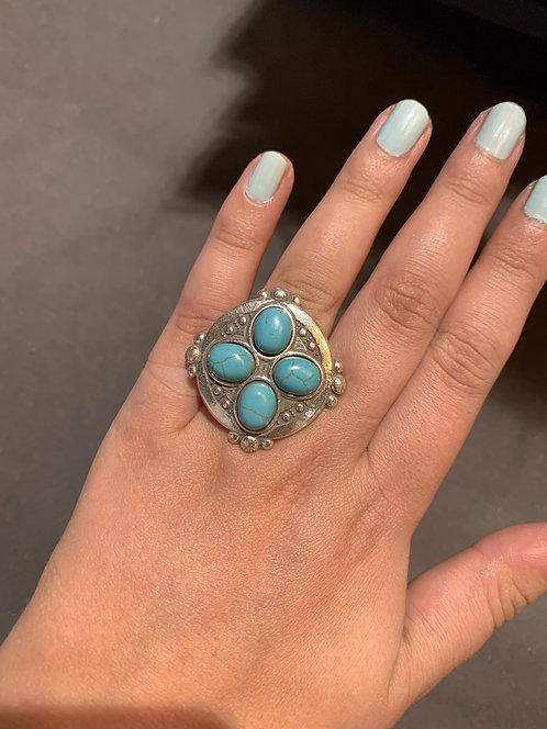 Shabada Ring Turqoise Zilver 2