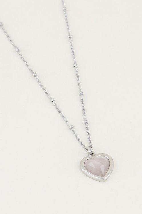 Ketting roze quartz hartje