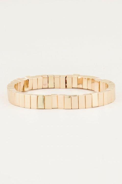 Armband met gouden platte kralen
