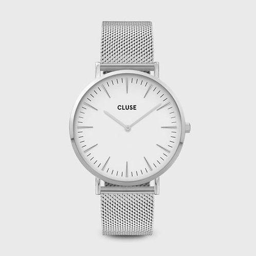 La Bohème Mesh, Silver, White/Silver 38 MM
