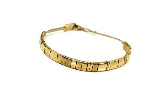 Armband platte gouden kralen