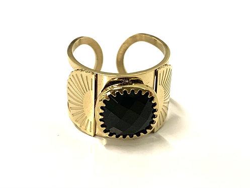 Ring half open met zwarte steen