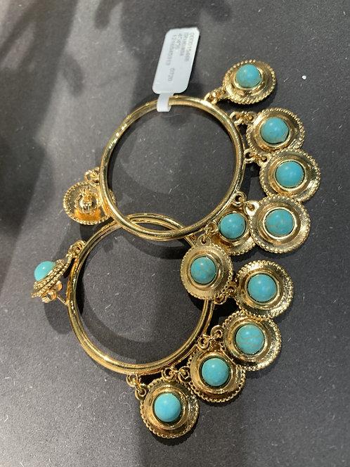 Shabada Earring Turqoise Goud 3