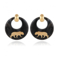Tiger Earrings Acetate Gold