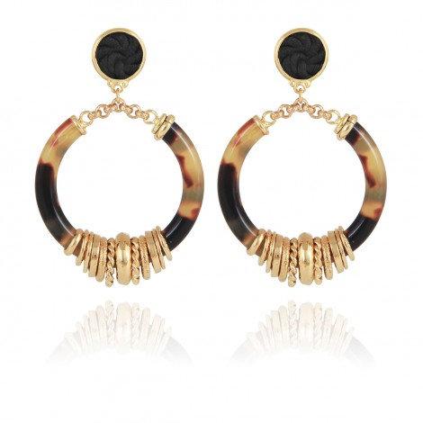 Mariza Earrings Acetate gold - Tortoise