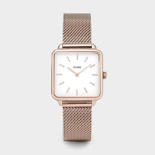 La Tétragone Rose Gold Mesh/White 28 MM