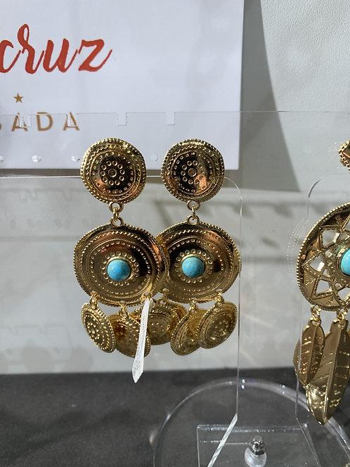 Shabada Earring Turqoise Goud 1