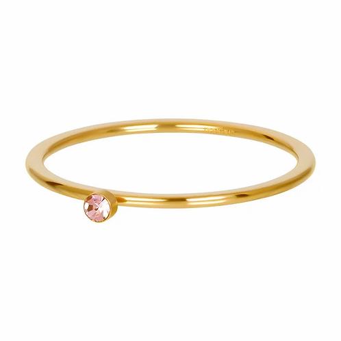 Vulring Pink 1 Stone Goudkleurig 1mm