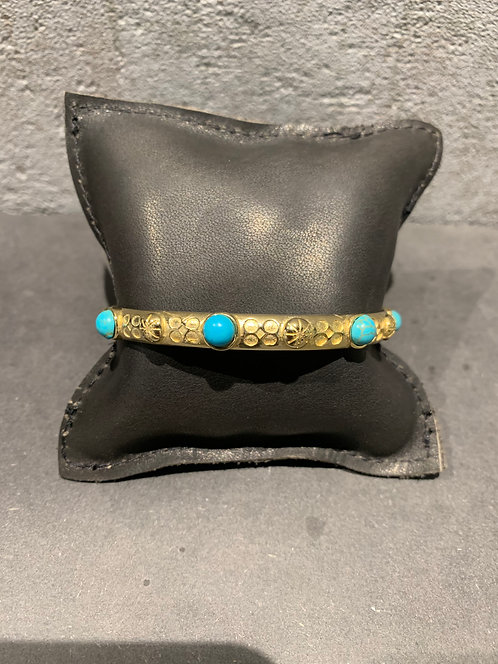 Shabada Bangle Turqoise 1 - Goud