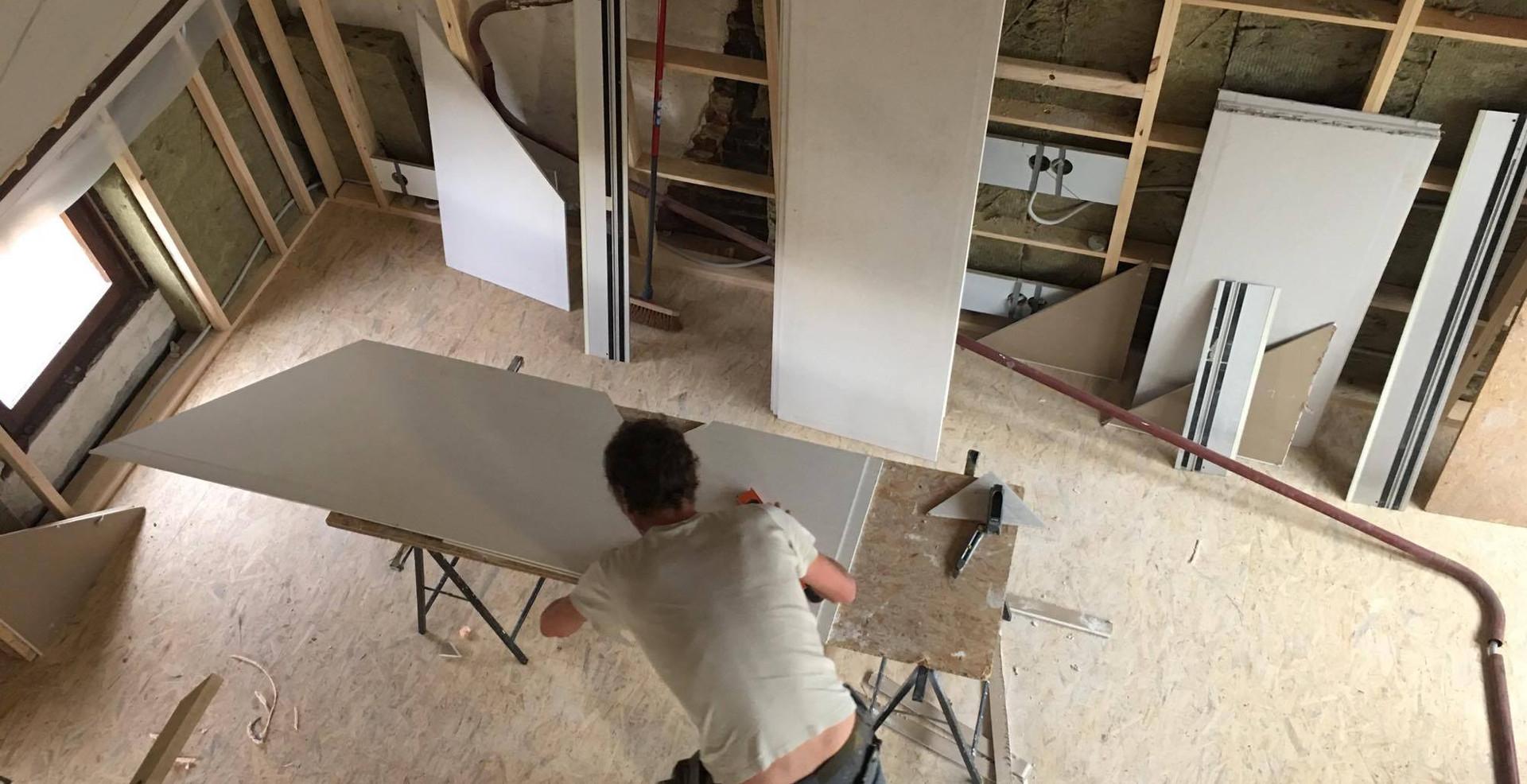 Zolder renovatie gyproc werkman Hout Van Miel
