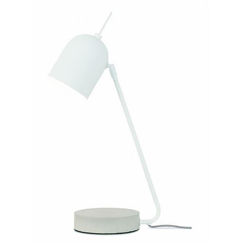 MADRID - 'Ronde' bureau- of tafellamp in wit metaal en met betonnen voet