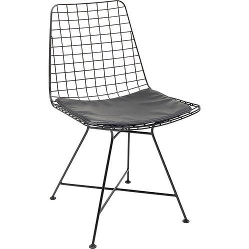 METAL BUT FINE! - comfortabele, zwartmetalen (eetkamer)stoel met zitkussentje