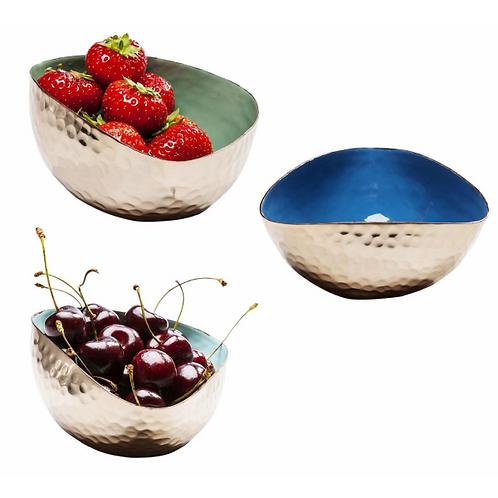 BEATEN BOWLS - set van 3 geëmailleerde eet- of sierschaaltjes