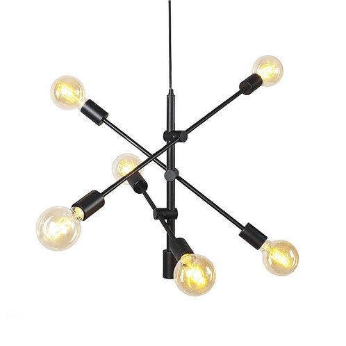 SIDONIE zwartgelakte metalen hanglamp met vintage-touch (Qazqa)