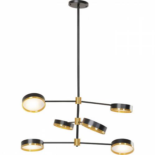 EYECATCHER - stijlvolle hanglamp voor 6 lampen, in zwart en messingkleurig staal
