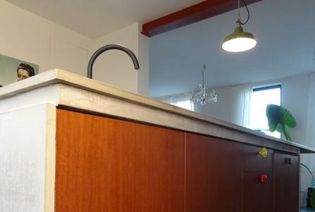 Keuken eiland op maat fineer hout betonnen werkblad