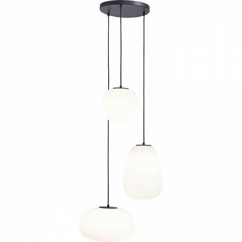 RIF-RAF - handgemaakte matglazen hanglamp in zwart-wit