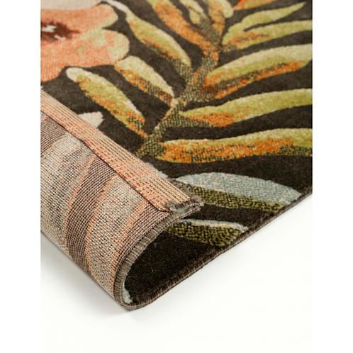 TROPIC Veelkleurig hoogpolig tapijt met donkere achtergrond (Benuta)
