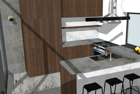 Ontwerp keuken 3D fineer notelaar beton hout licht barkrukken pendel dampkap
