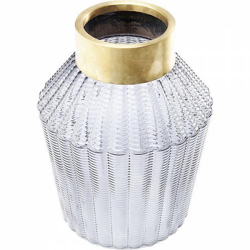 BLACK BERRY - brede vaas in 'smoked' structuurglas en geborsteld messing