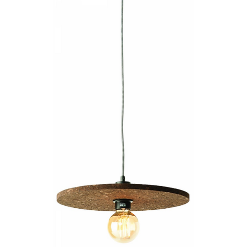 ALGARVE - hanglamp uit donkerbruine  kurk met zwart-wit 'strijkijzer'snoer