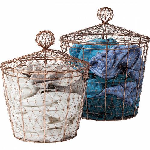 COPPER CLASH set van 2 decoratieve opbergmanden (Kare Design)