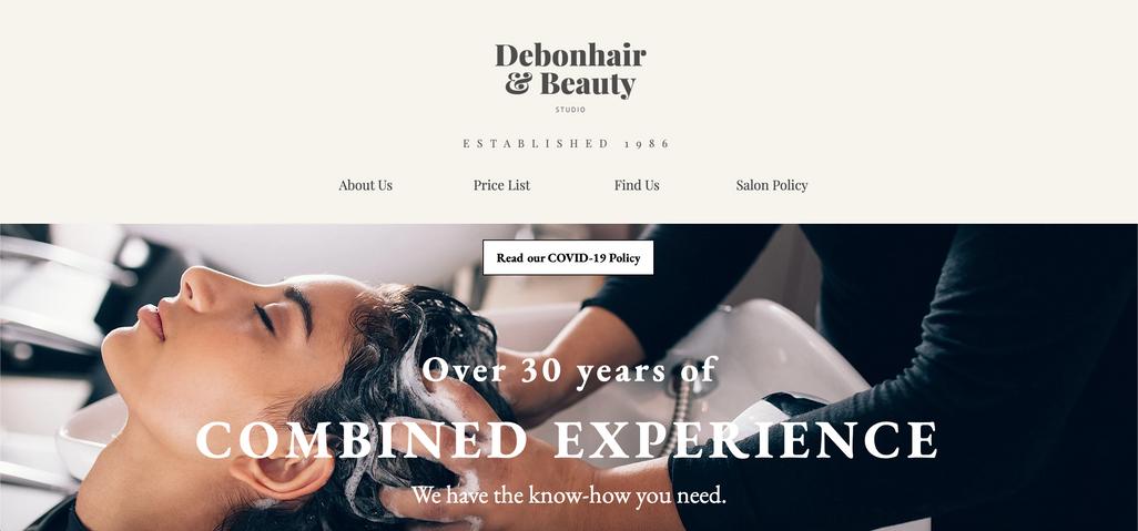 Debonhair & Beauty Studio Website Screenshot