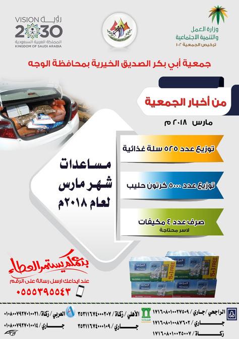 توزيع عدد من المساعدات العينية خلال شهر مارس 2018