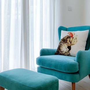 Velvet chair and stool