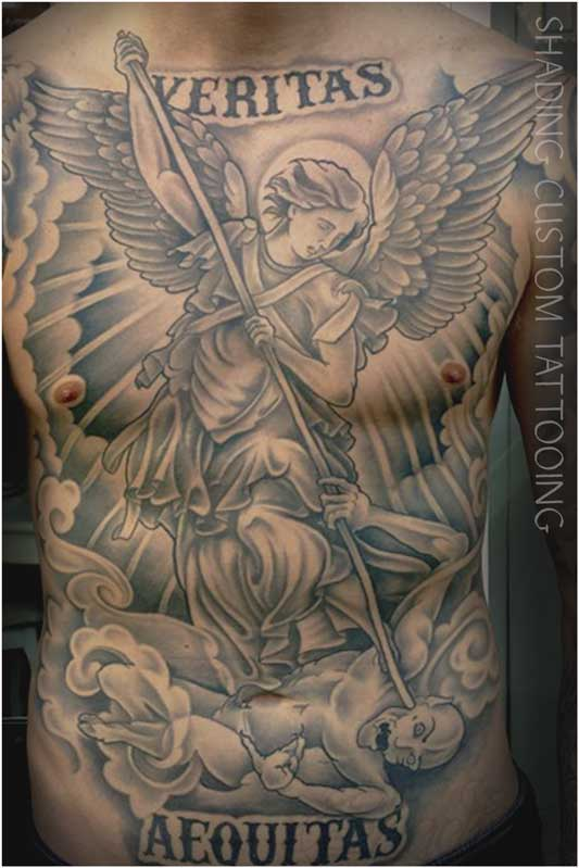 Tattoo - Tatoeage borst Sint Michael